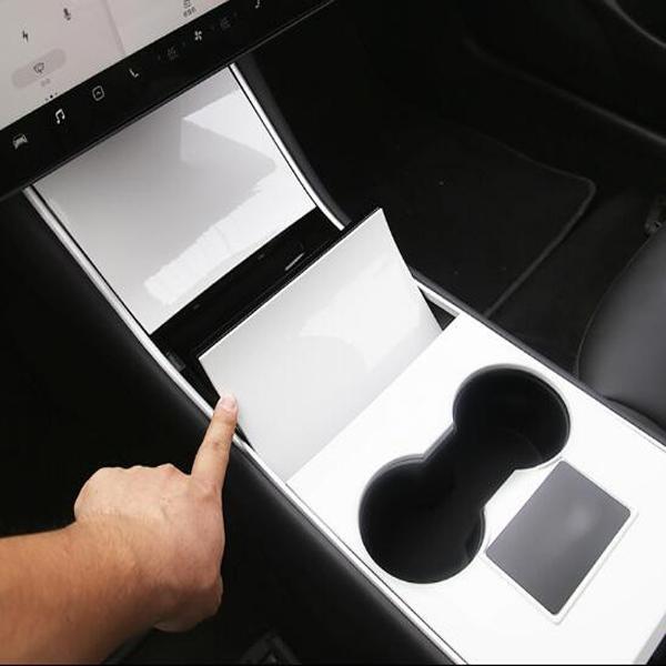 voiture ABS 4pcs haute qualité panneau de commande central de couvercle décoratif, couverture de protection pour modèle Tesla Model3 3 2007-2020