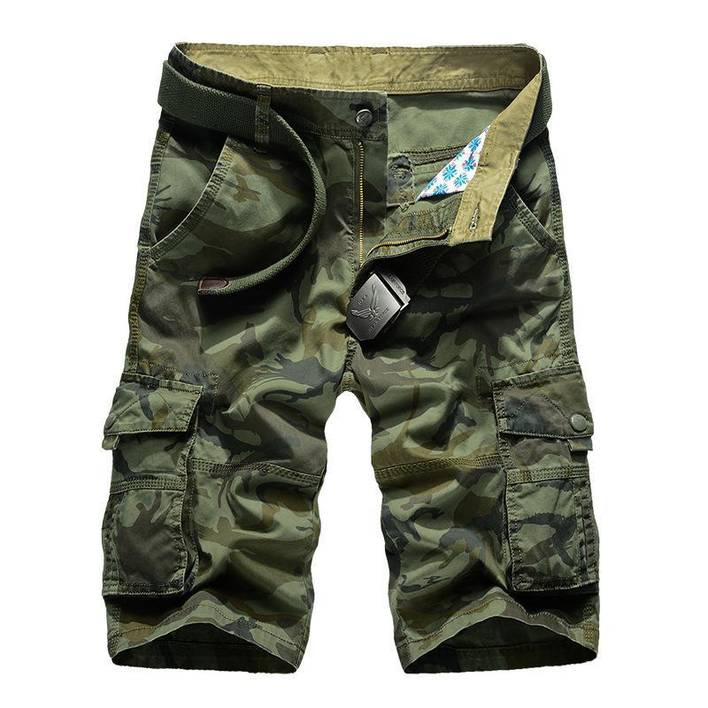 Камуфляж Camo Cargo Shorts Men 2020 новых людей вскользь шорты мужчина Сыпучие Работа Шорты Человек Military Короткие штаны Плюс Размер 29-44 CX200731