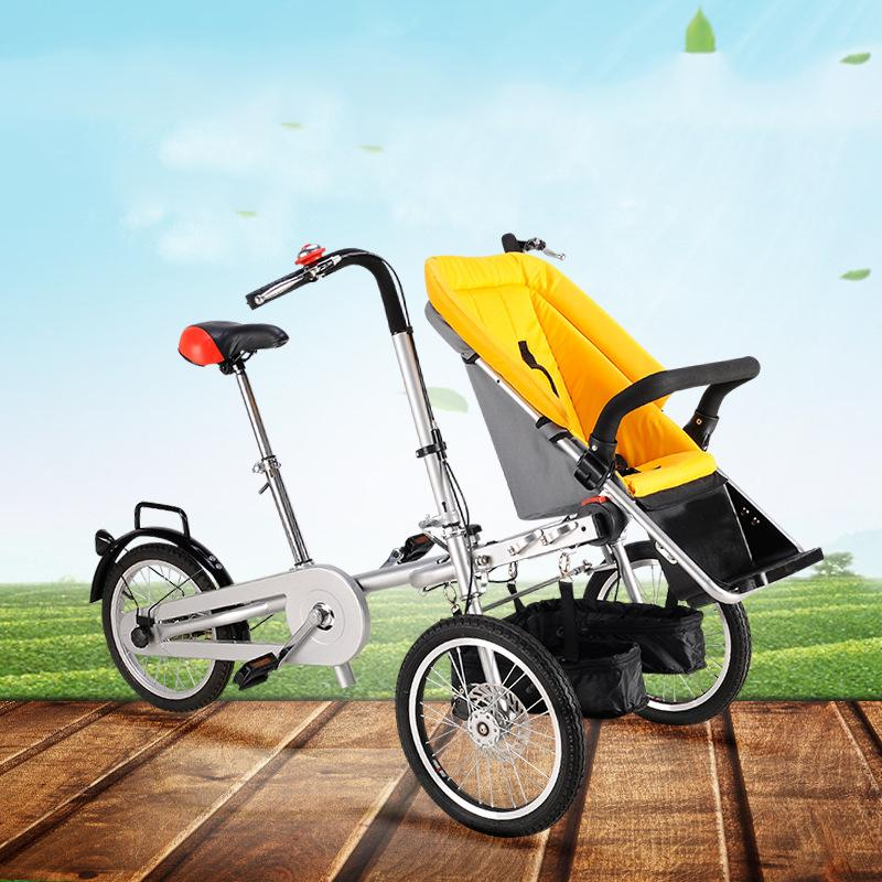 Mama Baby Bike Stroller Mother and Child Cart Double Bike for Entire Family Three Wheels Baby Stroller Child Tricycle
