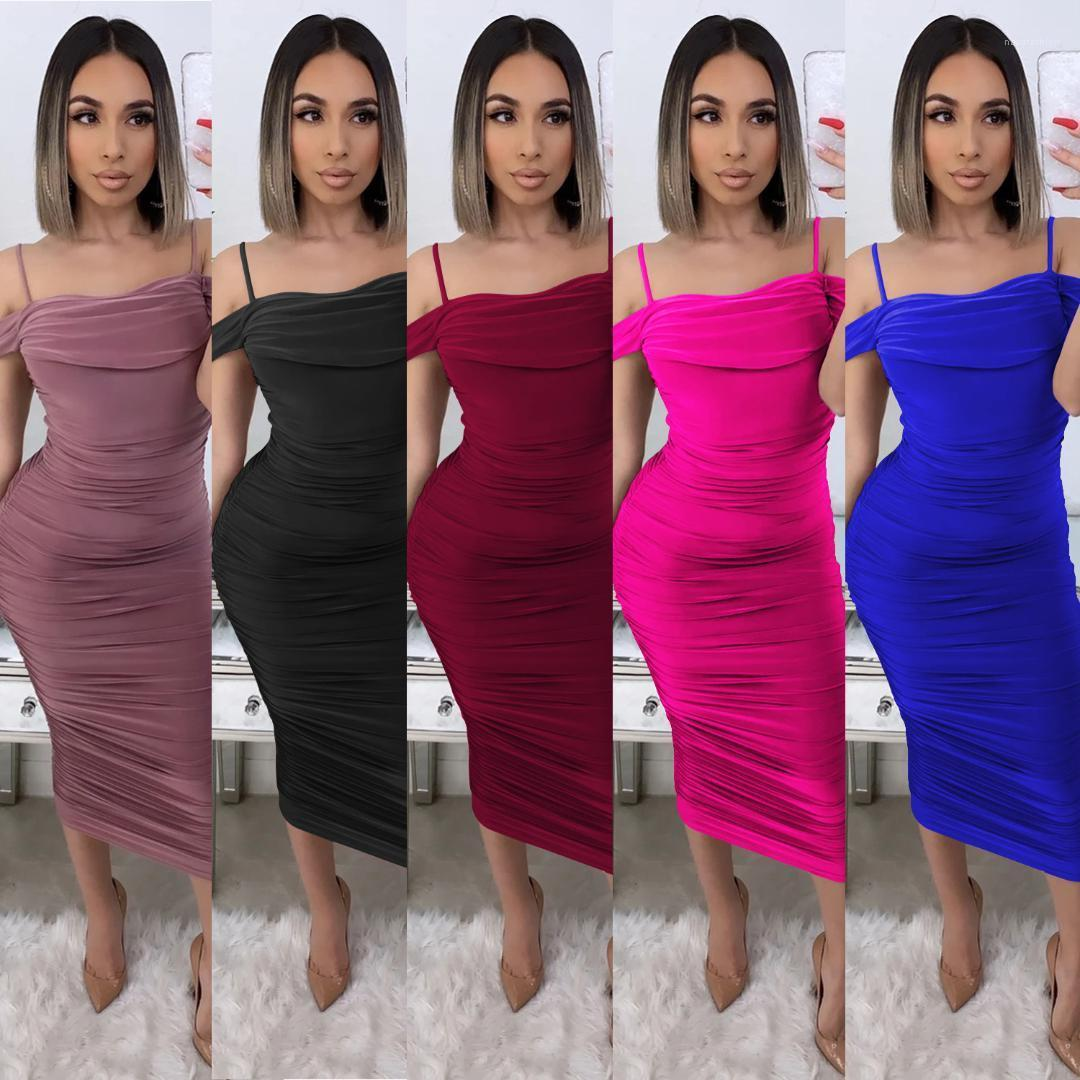 Solid Color Damen Kleidung 2020 Frauen Designer Mid langes Kleid Sommer-reizvolle Leibchen plissierte Kleider Mode