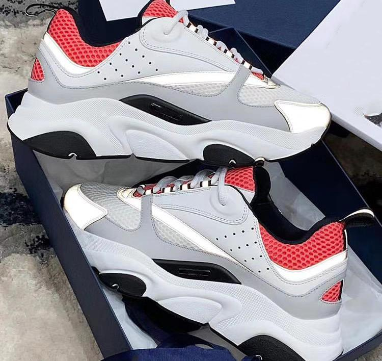 2020 Men B22 Sneaker Reflective Sneakers Platform Shoes Canvas Calfskin Trainers Top Light Blue Women Lace-up Casual shoes With Box