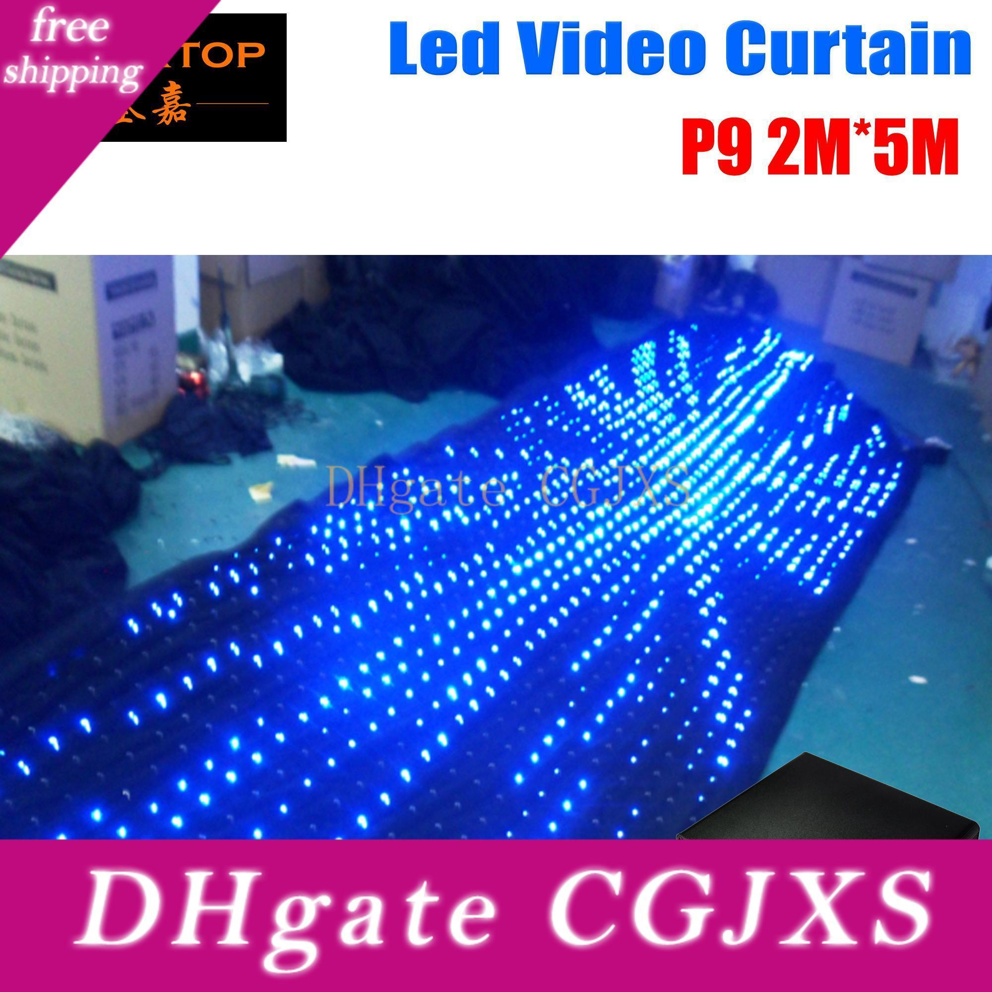 Freeshipping Tiptop 2 Meter Height 5 Meter Length Dmx /Manual /Computer Control Led Video Curtain Black Color Fire Proof Velvet Cloth Ce Roh
