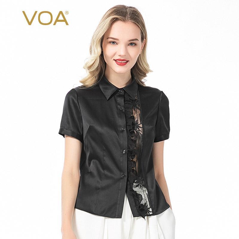 VOA 19MM Satin Silk Kragenausschnitt Lace-Panel aus Holz Ohr Short Sleeve Einreihig schwarzem Hemd BE12