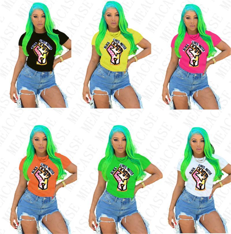 BLACK LIVES MATTER Women T-shirt Designer Cartoon Fashion Round Neck Tops Tees Short Sleeves Tshirt Plus Size T Shirt Females Clothing D7805