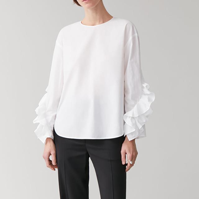 Рубашка белый желтый Женские Ruffled Длинные рукава Хлопок O-образным вырезом Сплошной цвет Простой Женский Повседневный Блуза 2020 Новый