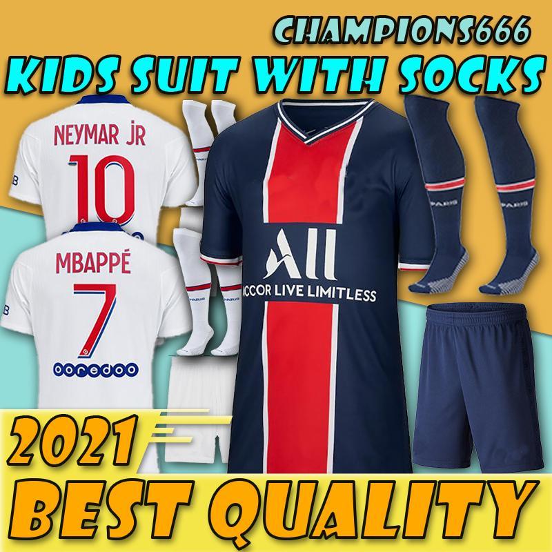 Mise à jour spéciale !!!!! kids kit 20 21 Mbappe maison de football pied 20 21 Paris Patch chemisettes enfant Verratti NEYMAR JR chemises de football