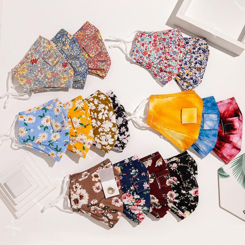 Lazo de algodón paja tintes máscara floral impreso con orificio de bebida a prueba de polvo máscara impresa exterior CYF4278 la boca cubierta protectora de la moda