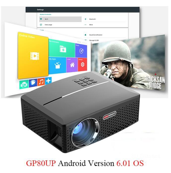 GP80 GP80UP LED Mini Taşınabilir Projektör Ev Sinema Destek Full HD 1080P 4K Opsiyonel Android Bluetooth Kablosuz WIFI Projeksiyon 1pcs
