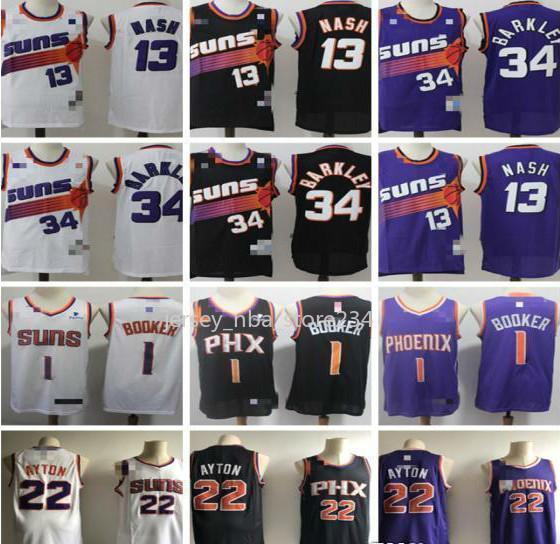 HerrenPhönixSonnen13 SteveNash 34 CharlesBarkley 1 DevinBooker 22 DeandreAyton Basketball Shorts Trikots