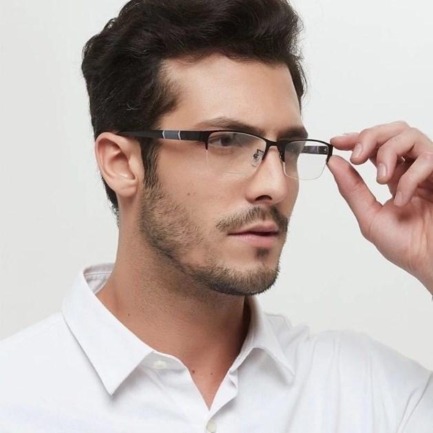 2020 против Синий Reading Glasses для мужчин Half-кадр диоптрий очки Бизнес мужчина дальнозоркостью очки Lentes De Lectura Mujer