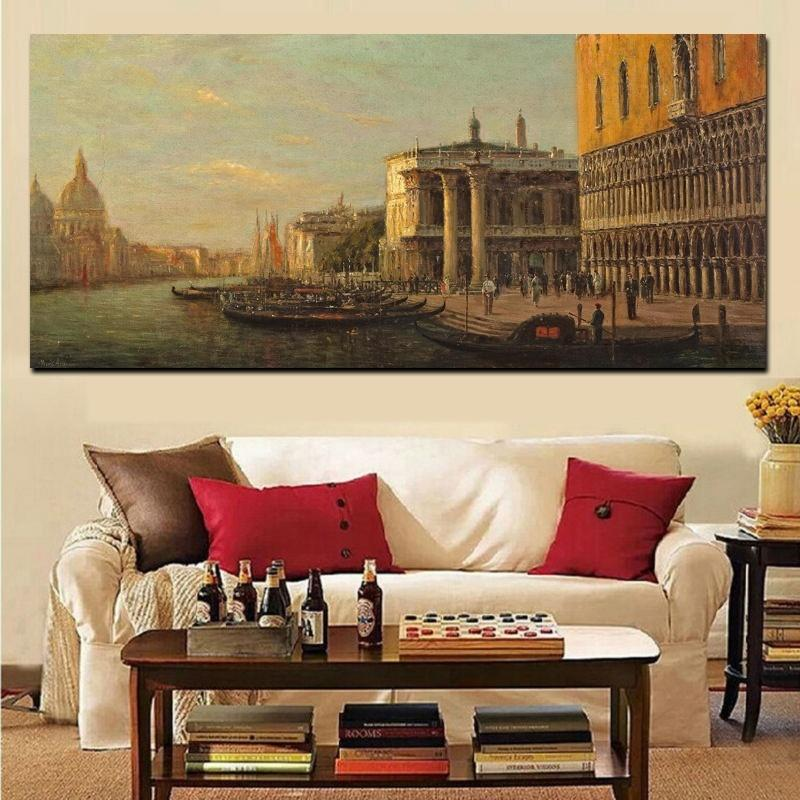 Classic Venice City Seascape Oil Painting on Canvas Retro Landscape Poster Prints Wall Art Picture for Living Room Vintage Home Decor
