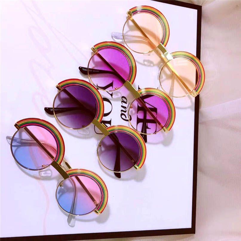 Nuevas gafas de sol 2020 de Rainbow Kids chicas de moda las gafas de sol chicos Lentes de sol ultravioleta a prueba de niños UV gafas niñas gafas B1664
