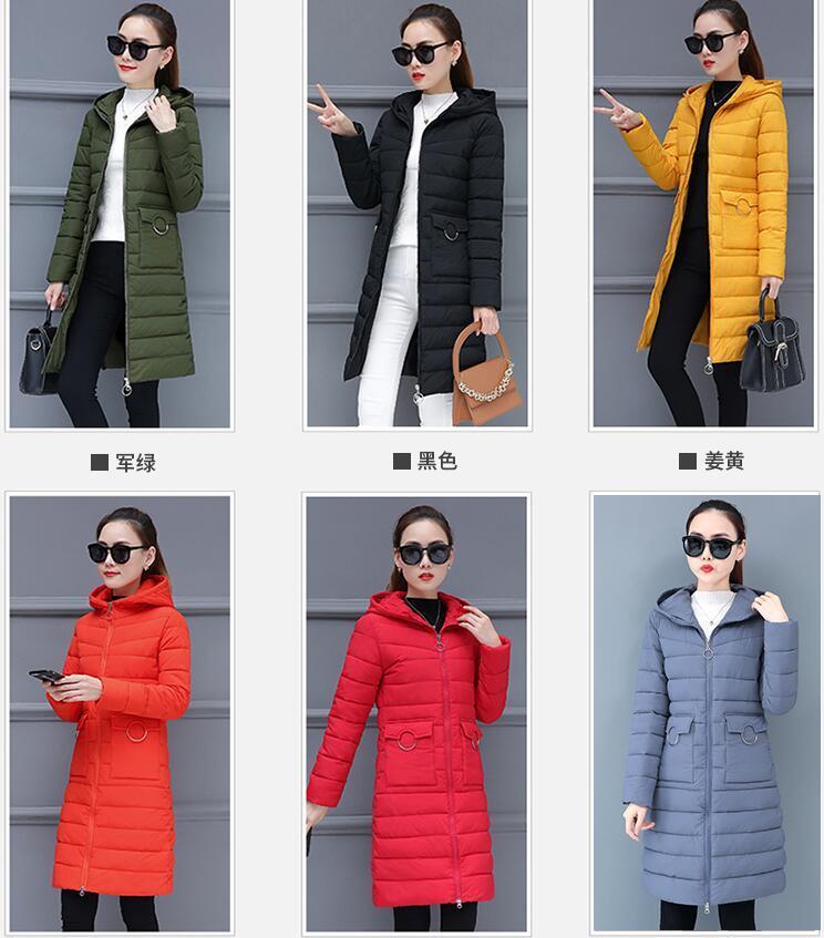 lunghe giacche sottili di inverno caldo delle donne calde con cappuccio cappotti piumino cotone riempito il cappotto Outerwear