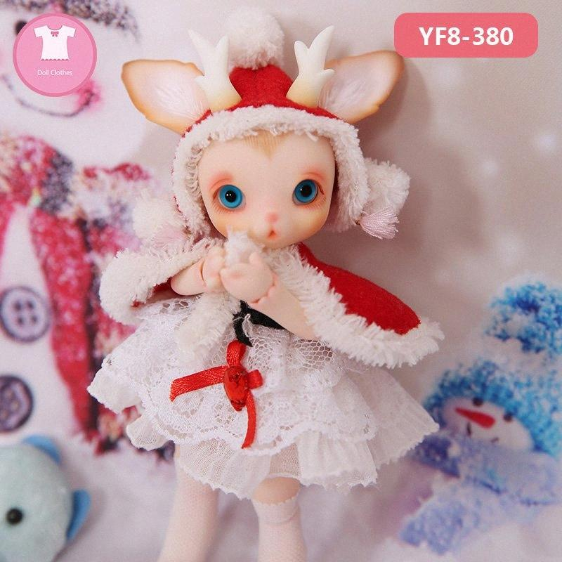 BJD Clothes 1/8 Doll Body Cute Mini Dress Suit Beautiful Girl Christmas Deer Outfit Doll Accessories Dolls Accessories Set Baby Dolls 6GdR#