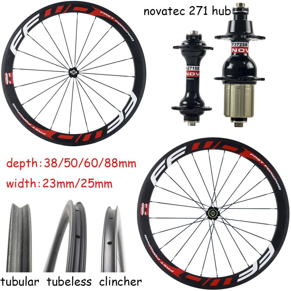 700C Carbon Rim 38/50 / 60/88 millimetri di profondità larghezza di 25mm Carbon Road Bike Wheels copertoncino / tubolare / Tubeless carbonio assale dotato di Novatec 271 Mozzi