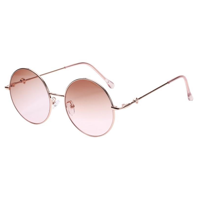 Мода красочные круглые солнечные очки женщин Роскошные металлические солнцезащитные очки лето Открытый очки Женский
