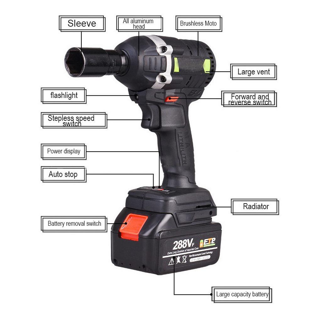 30N.m 288VF 19800mAh Akku-Elektroschrauber Schlagschrauber Steckschlüssel-Lithium-Batterie-Handbohrgerät Installations Power Tools T200801