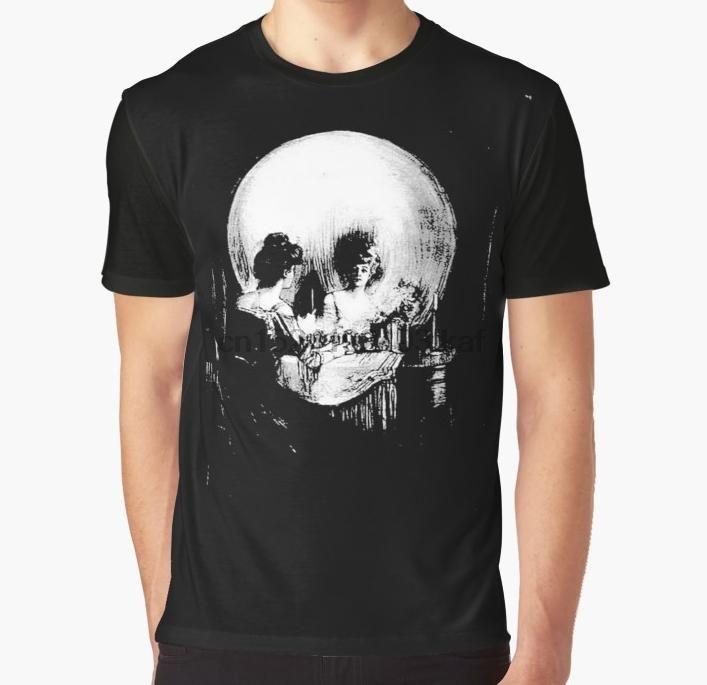 Todos os homens camiseta Mulher Engraçado sobre Imprimir camiseta com o crânio Halloween reflexão no espelho gráfico T-shirt dos homens roupa Top Tee