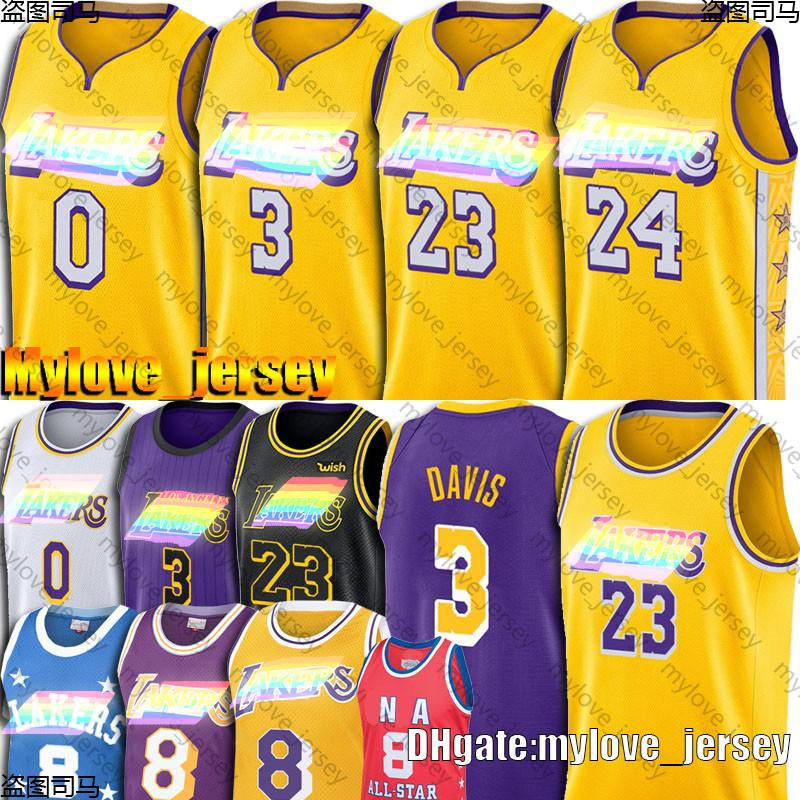 James 23 LeBron James Jersey Black Mamba Anthony Davis 3 maglie Kyle 0 Kuzma Earvin 32 Johnson Maglia Basketball Maglie