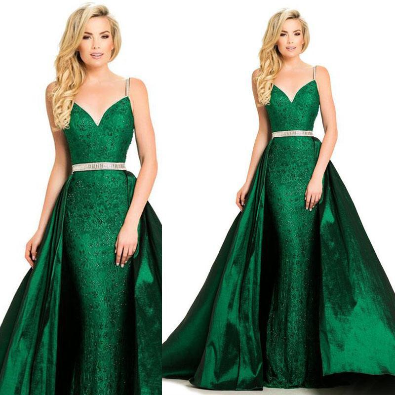 Spaghetti Prom Dresses Modest Lace Evening Dress Plus Size Party Ball Gowns Special Occasion Dress Detachable Skirt Dubai robes de soire