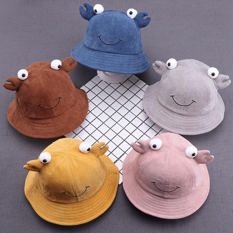 Autumn New Fashion cute embroidered smiley Fisherman hat hatbaby cap baby capface crab corduroy children's fisherman hat