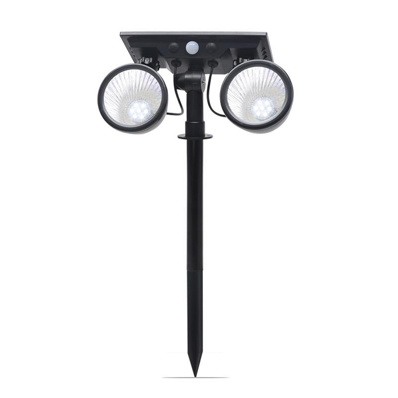 Umlight1688 LED-Solar Scheinwerfer im Freien doppelten Kopf Landschaft Licht Rasen Landschaft Licht Dual-Head-Bewegungs-Sensor Driveway Lighting