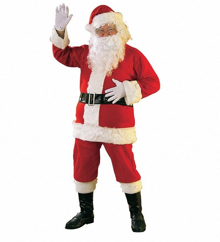 Delle donne degli uomini di Cosplay di Natale Babbo Natale divertente Dress Up Costumi Tute dei vestiti del costume rosso Uomo Donna Cosplay di modo cy6A #