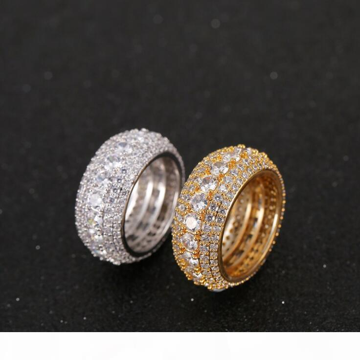 2019 Hip Hop Mens anello di oro ghiacciato fuori Anelli micro pavimenta cubico zircone Promessa diamante anelli di barretta di lusso della personalità del marchio regalo