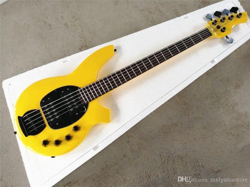 Aktif Circuit, Siyah Pickguard ile 5 Strings YellowElectric Bas, Gülağacı Klavye, teklif özelleştirilmiş