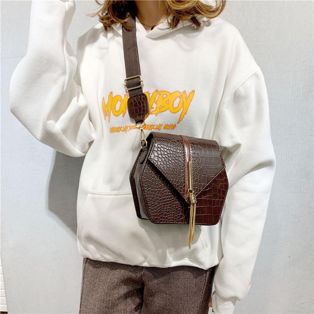 Las mujeres cocodrilo del bolso de hombro del metal de la borla de la vendimia del bolso del mensajero de la PU de cuero Crossbody Hexágono Moda Bolsas #O