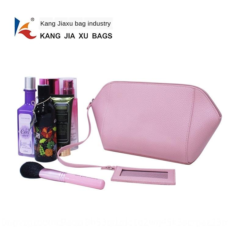 kozmetik ayna kabuk-şekilli depolama çantası ile BSCI Kore tarzı yaratıcı tekne tarzı litchi desen PVC ayna kozmetik çantası