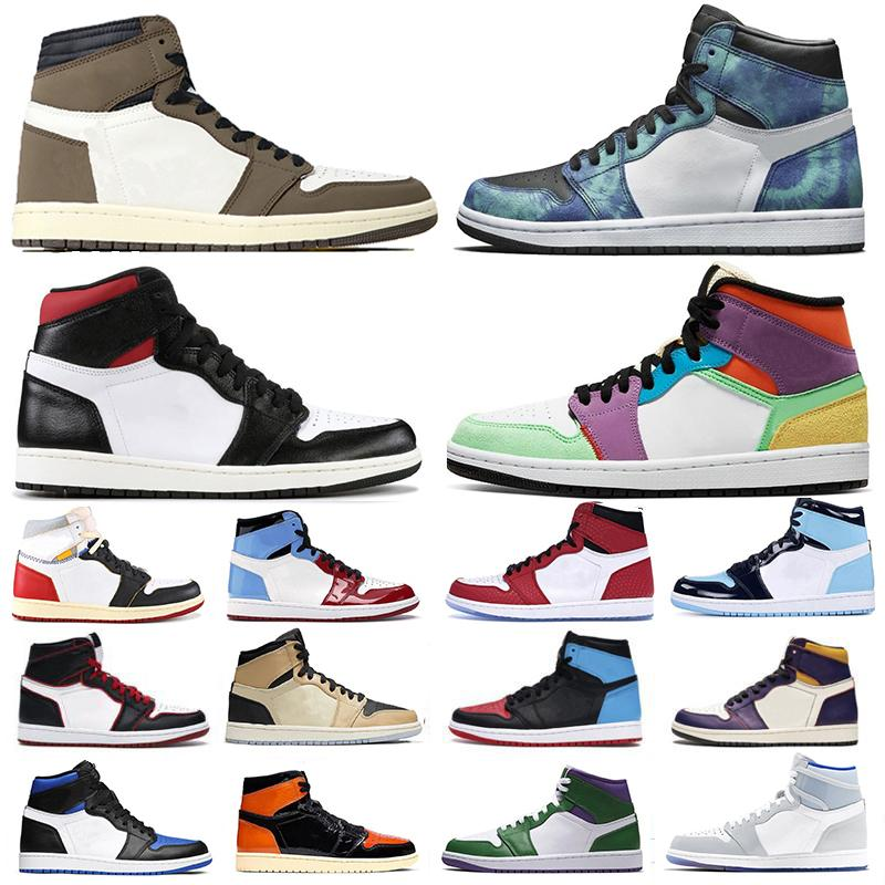 Top Sale alta Travis Scott 1 1s Mens scarpe da basket senza paura Banned nero Toe giallo Palestra Red UNC Tie Dye Sport Sneakers