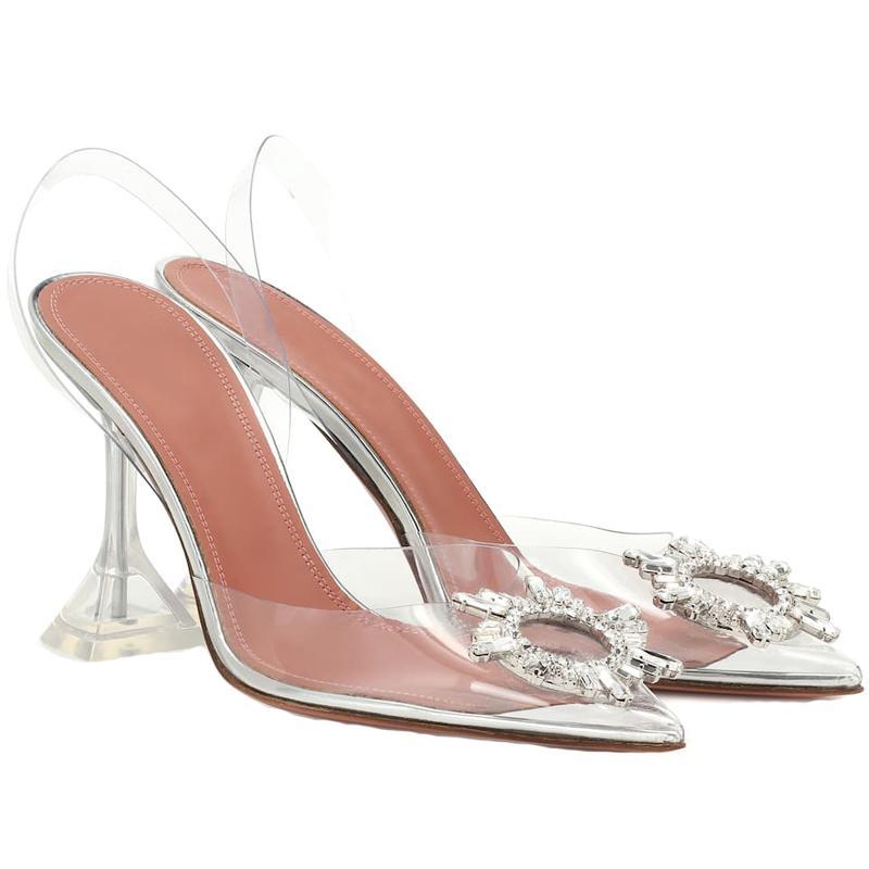 Femmes 2020 Pompes transparentes Hauts talons Slip-on Sexy Toe Pointu Chaussures de soirée de mariage Marque de mode pour Lady Taille 35-40