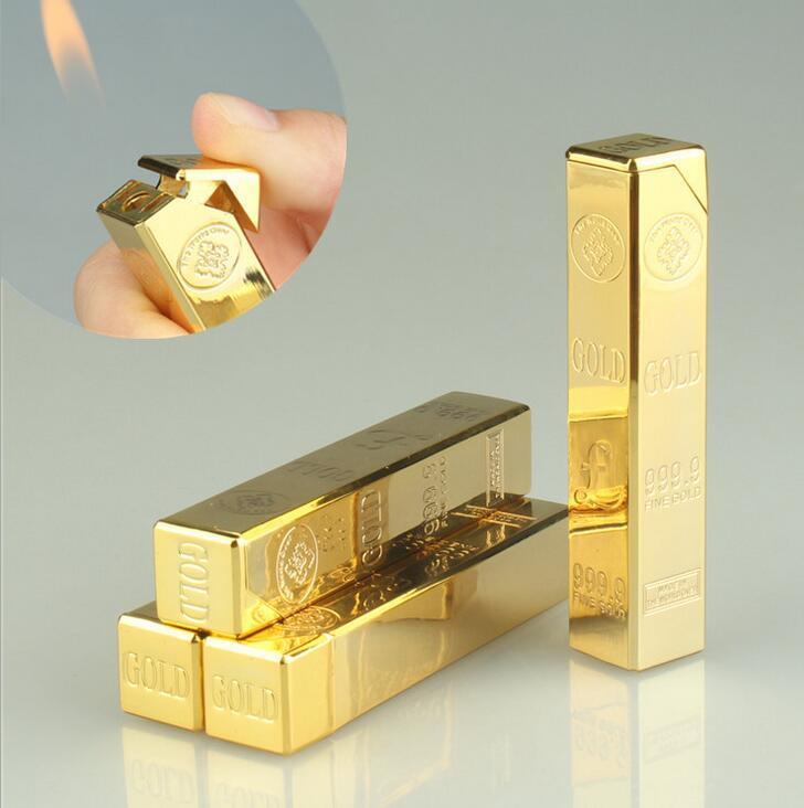 Yeni Gaz Bütan Külçe Şekilli Altın Tuğla Çakmak Uzun Bar Alev Metal Sigara Puro Çakmak Sigara İçme Mutfak Aletleri Aksesuarları