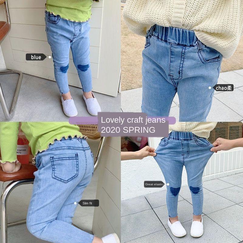 Deer Jeans tragen Hirsch Mädchenkleidung der koreanischen Art Liebe Jeans Kinderkinderkleidung Frühling und Herbst girlsspring