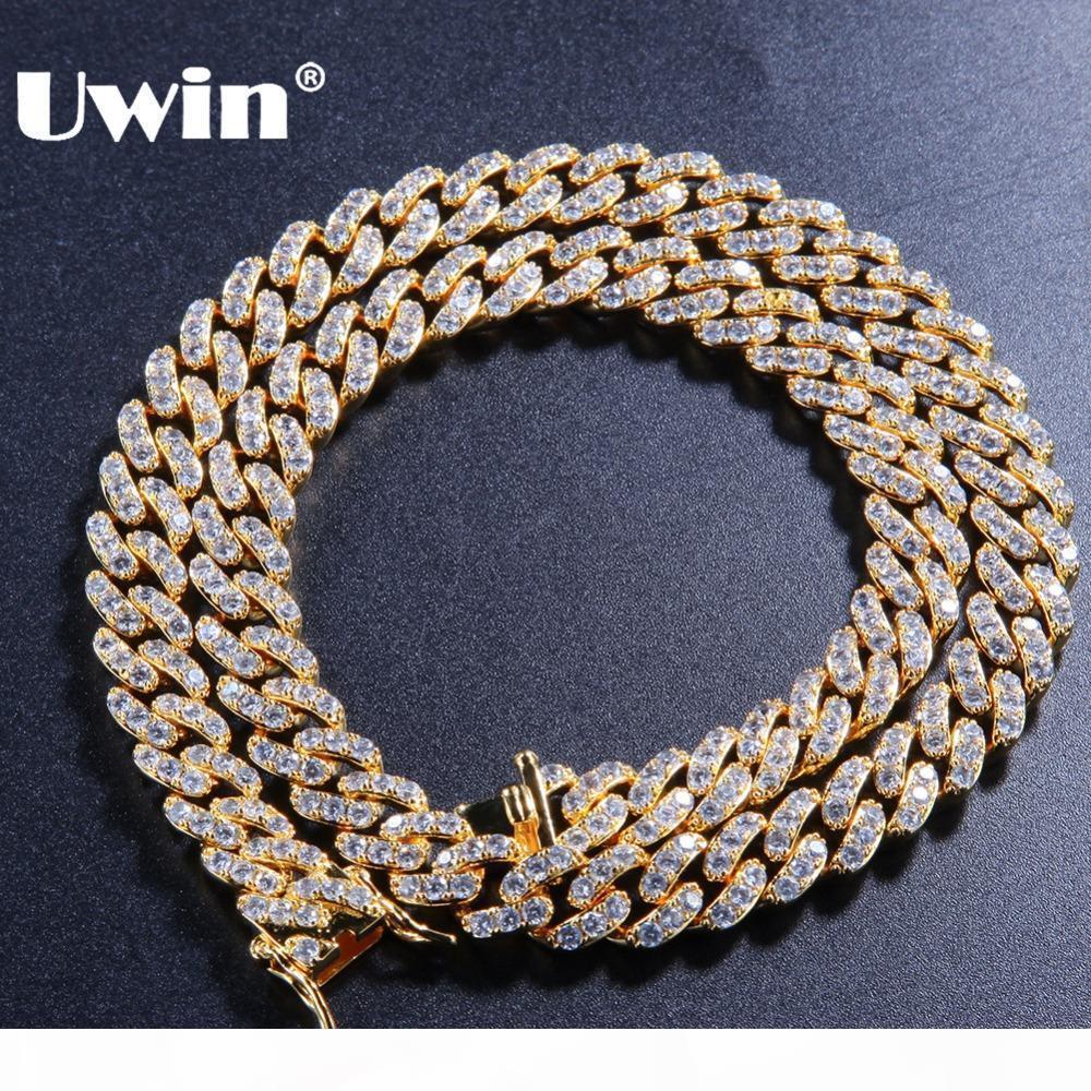 Chains UWIN 9 milímetros Micro Pave Iced CZ cubana Fazer a ligação Colares cor do ouro Luxo Bling Bling Bijuterias Hiphop For Men