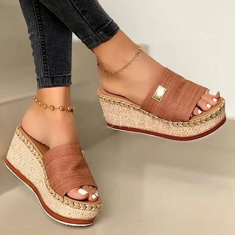 Yaz takozları Terlik Platformu Yüksek Topuklar Kadınlar Terlik Bayan Dış Ayakkabı Temel Tıkanıklık Kama Terlik Flop Sandaletler çevirin