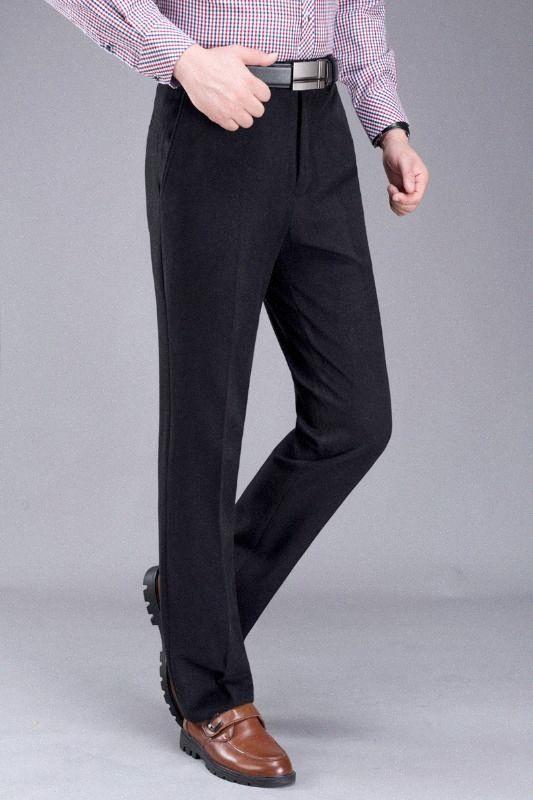 Высокое качество вскользь дела мужские костюмные брюки осень и зима Новый Velvet Толстые свободные прямые брюки HyxB #