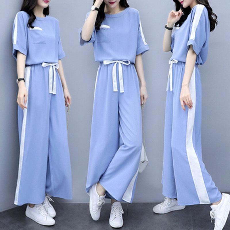 ChKza sli stile di stile di estate nuova coreana 2020 delle donne alla moda wide due pezzi sciolti dimagrante casuali pantaloni a gamba larga pantaloni a gamba larga occidentale