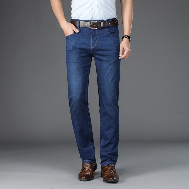 Мужские джинсы Browon Brand 2021 Летние Мужчины Брюки Смарт Повседневная дышащая Mid Slim Fit прямые мужские брюки большого размера 29-42