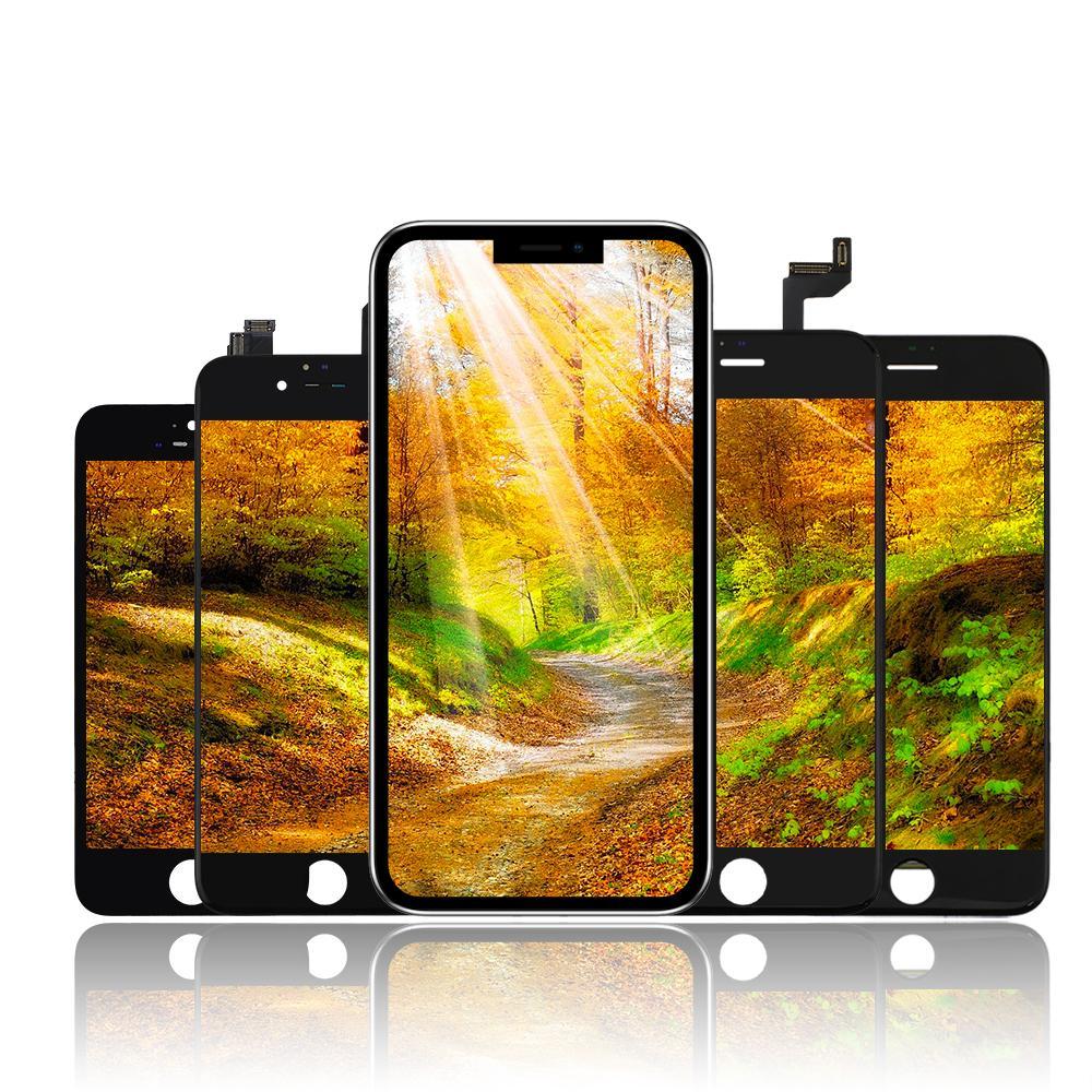 Yüksek Parlaklık Sınıf A +++ iPhone 5S 6 6S 7 8 PLUS X XR XS Max LCD Dokunmatik Ekran Ekran Sayısallaştırıcı Tam Meclisi