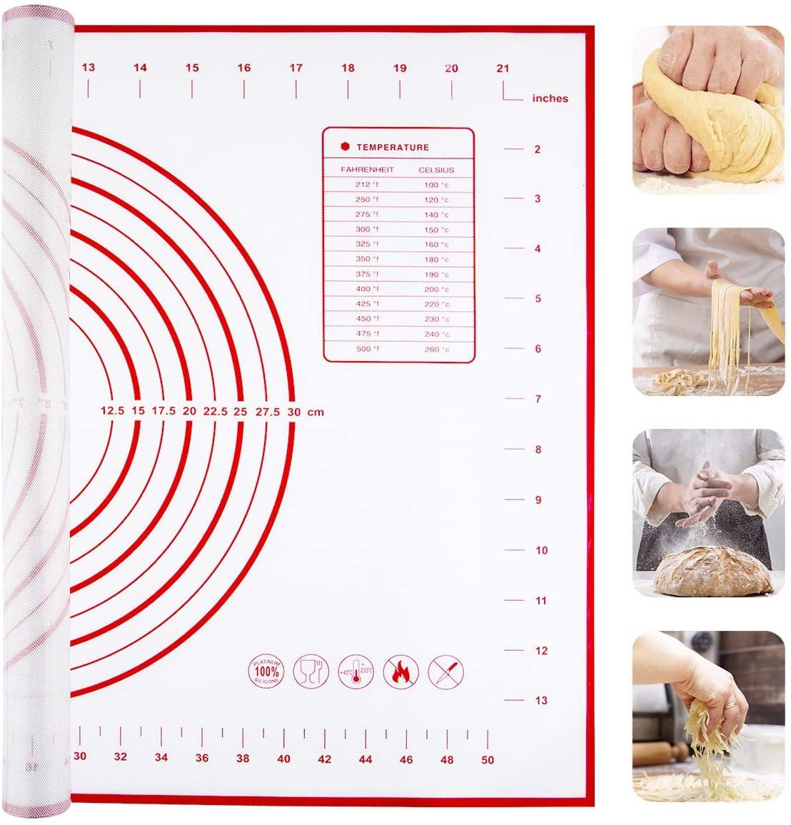 Large Silicone Pastry Mat Extra Thick Non Stick Baking Mat with Measurement Fondant Mat, Counter Mat, Dough Rolling Mat