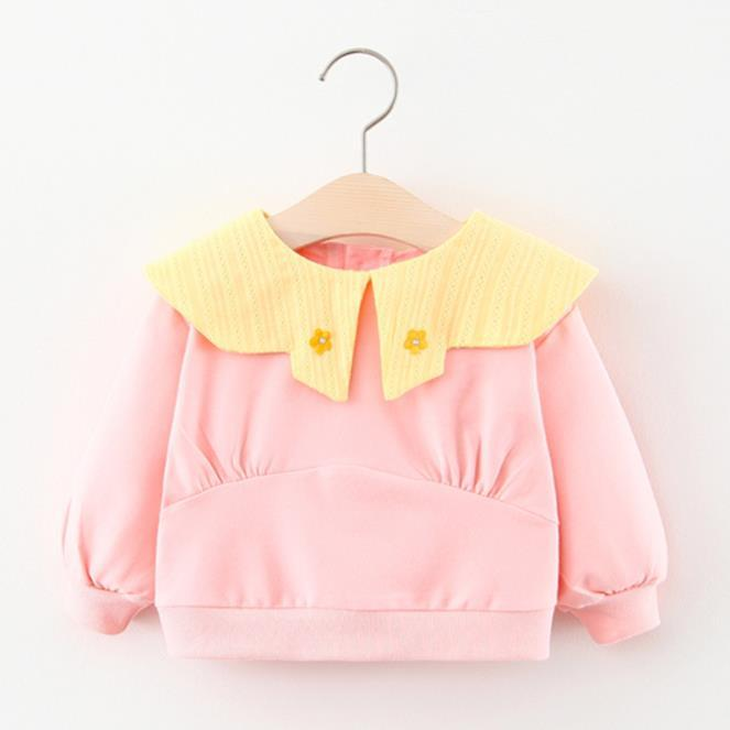 2020 kids clothes New autumn baby girl lapel small flower thin section long-sleeved Korean children's sweater