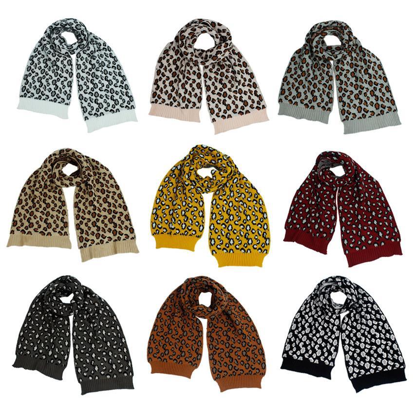 Bufanda caliente para la mujer leopardo de moda de invierno de punto infinito largo bufandas chal nuevo a prueba de viento abrigo de la muchacha 2020