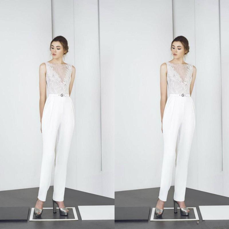 Moderna 2021 tute Bateau Collo Appliqued merletto caviglia Prom Dress Bianco su ordine degli abiti di sera del partito di cocktail di usura
