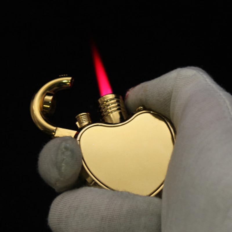 남자 선물 2020 재미 컴팩트 심장 제트 라이터 부탄 터보 토치 라이터 창조적 인 1300 C 방풍 가스 라이터 비정상적 가젯