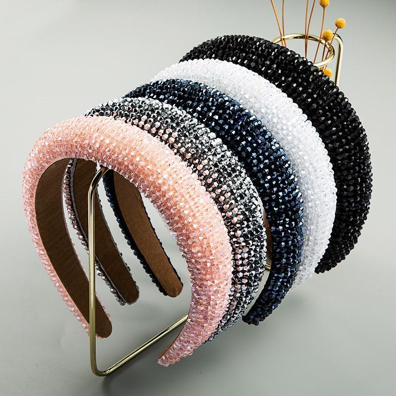 Handgemachte Kristall Perlen Stirnbänder High End Luxus Schwamm Rosa Haarband Frauen Mode Wide Stoff Stirnband