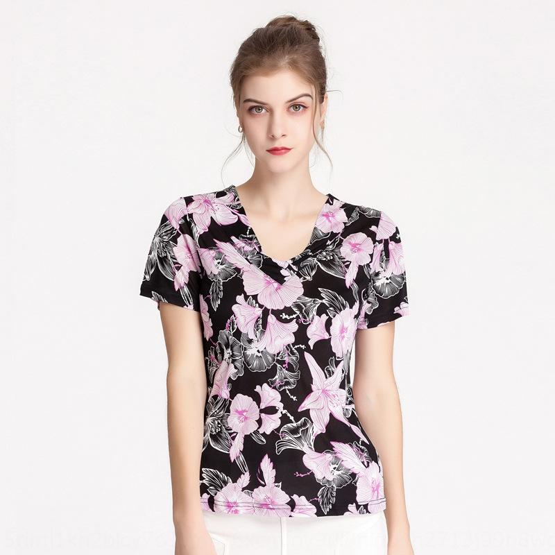 o9m9R Шелковый V-образным вырезом с коротким рукавом женская Т- футболки лето новый напечатанный темперамент пригонки большой размер шелк тутового трикотажные рубашки дна