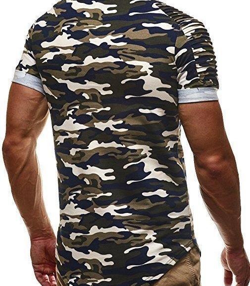 Moomphua 2018 Men Military Camouflage Slim Fit t shirt short Pleated sleeve t-shirt Men Camo Longline curved hem tshirt hip hop T200617