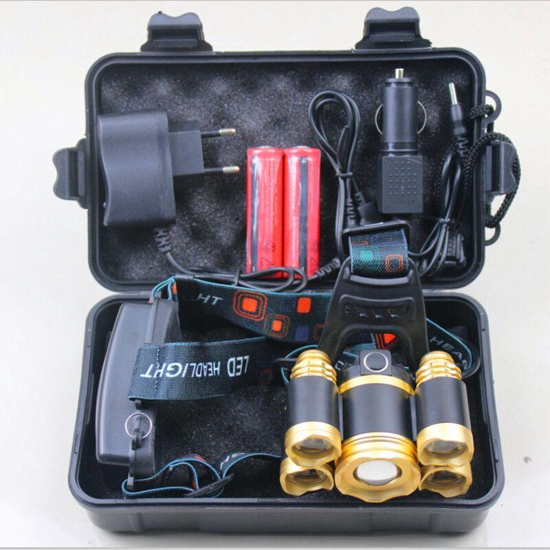 yunmai 5 LED Headlamp nuovo T6 + 4 * XPE faro 20000 lumen testa LED della lampada di Camp Hike Luce di emergenza pesca Outdoor attrezzature Q10